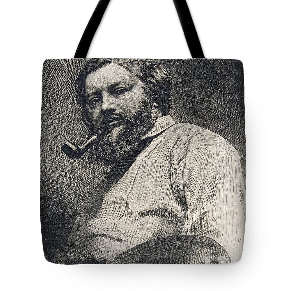 Gustave Courbet Tote Bag featuring the drawing Gustave Courbet by Etienne Gabriel Bocourt