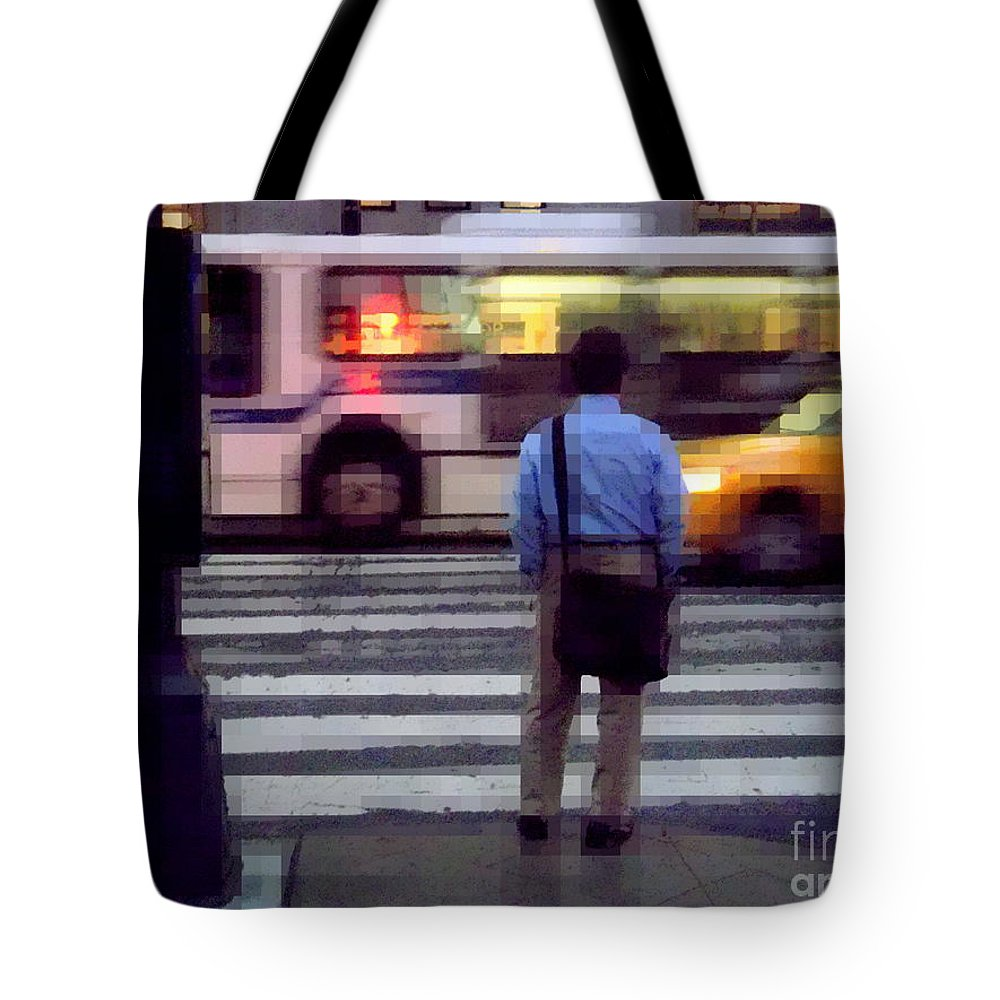 Traffic Tote Bag featuring the photograph Crossing The Street - Traffic by Miriam Danar