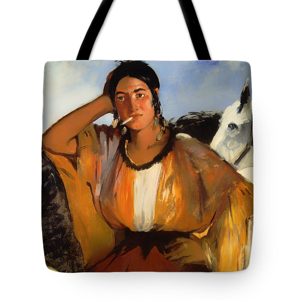 Painting Tote Bag featuring the painting Gypsy With A Cigarette by Mountain Dreams