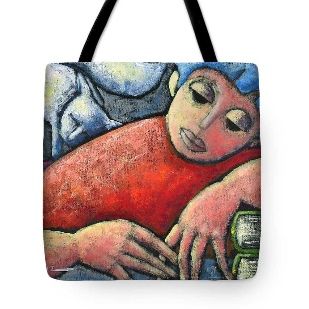 Cat Tote Bag featuring the painting Haciendo Tareas En Mi Cuarto by Oscar Ortiz