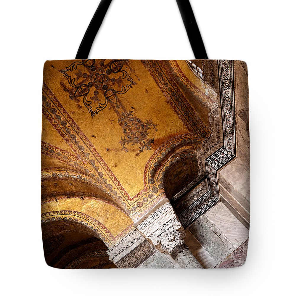 Istanbul Tote Bag featuring the photograph Hagia Sophia Arch Mosaics by Rick Piper Photography