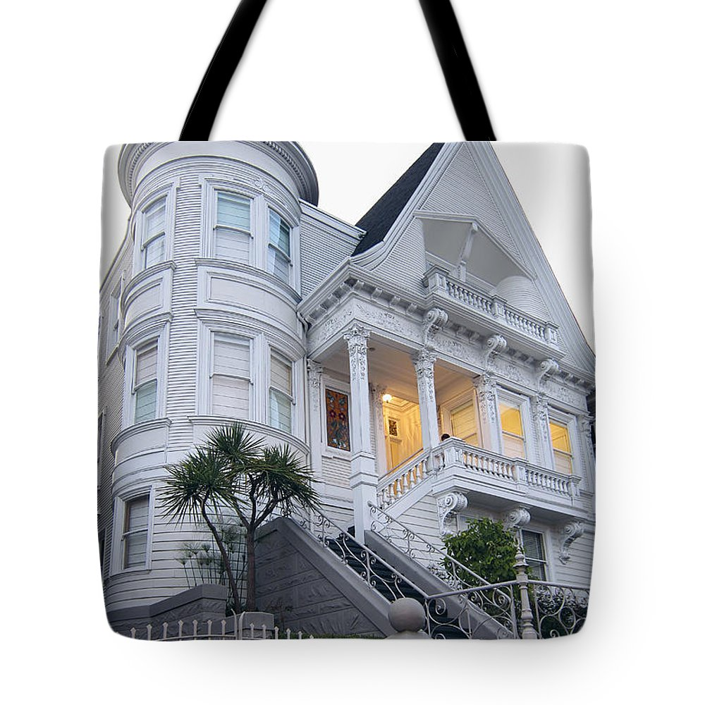 Haight Tote Bag featuring the photograph Haight Ashbury White Home by Daniel Hagerman