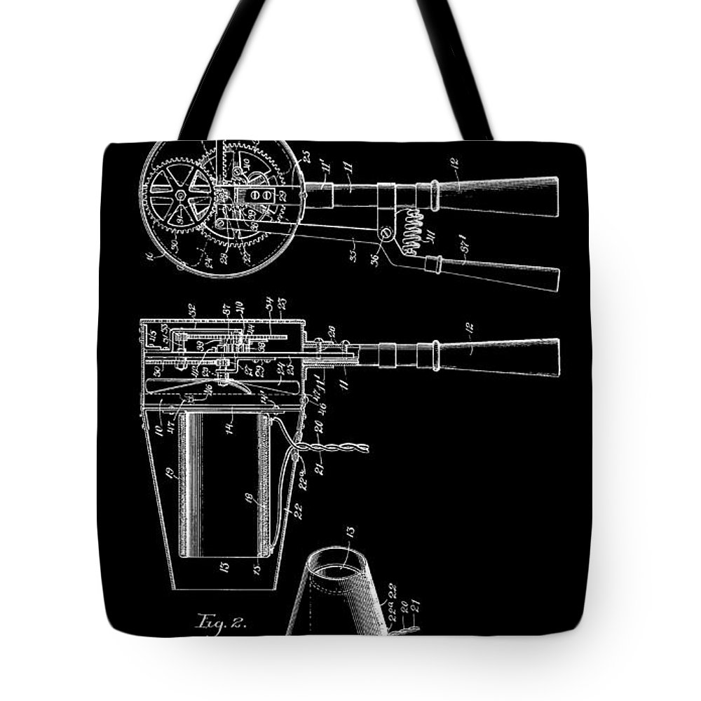 Hairdyer Tote Bag featuring the digital art Hair Dryer 2 Patent Art 1911 by Daniel Hagerman