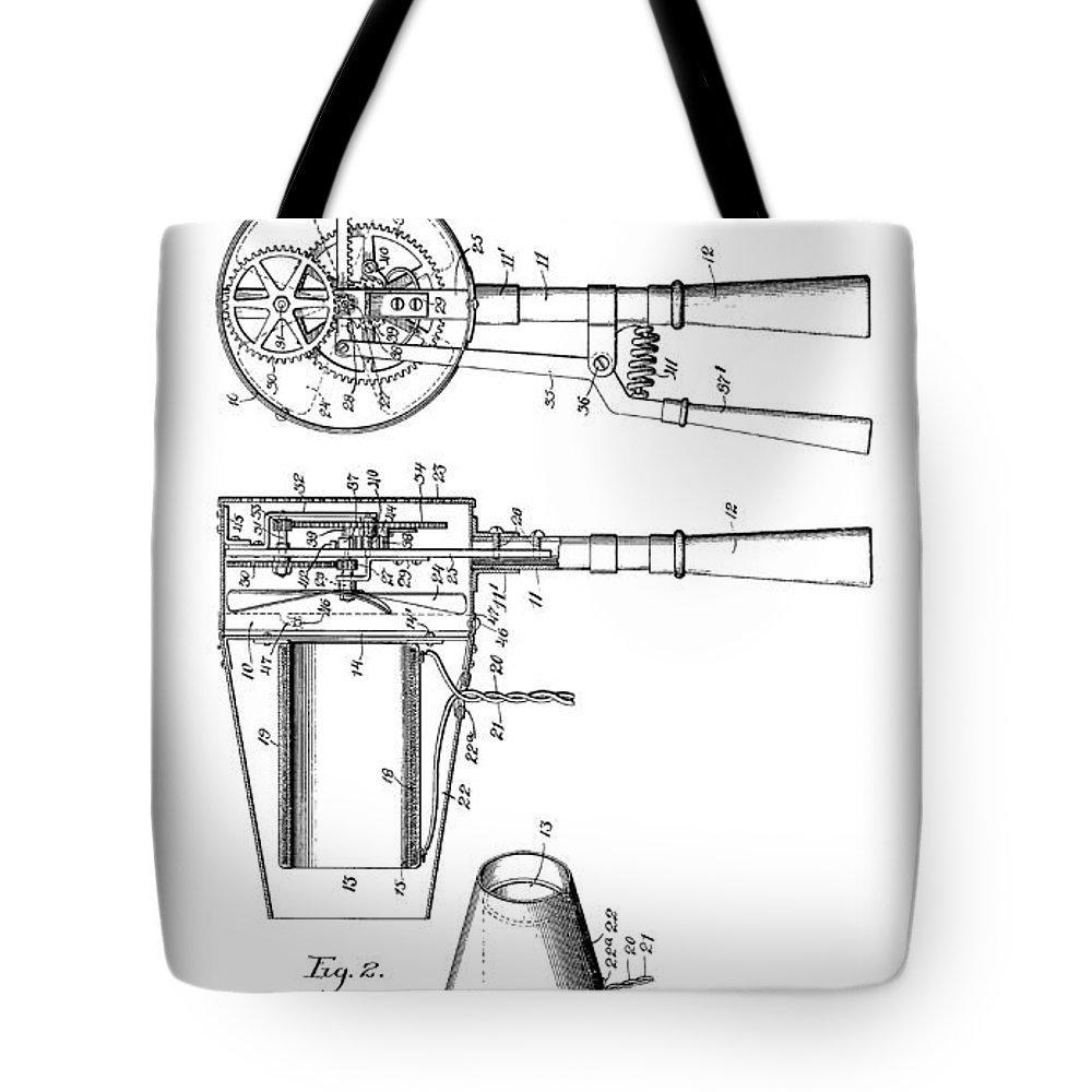 Hairdyer Tote Bag featuring the digital art Hair Dryer 4 Patent Art 1911 by Daniel Hagerman