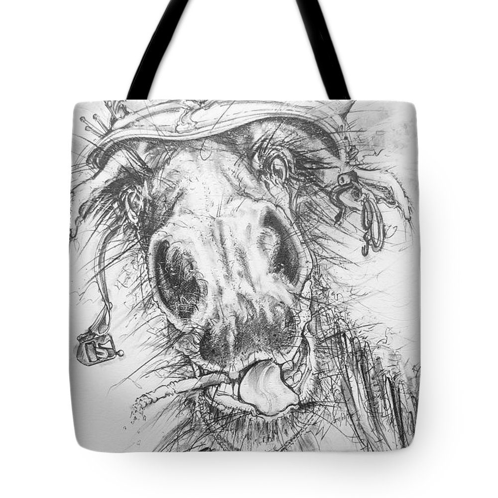 Horse Tote Bag featuring the drawing Hair-ied Horse Soilder by Scott and Dixie Wiley