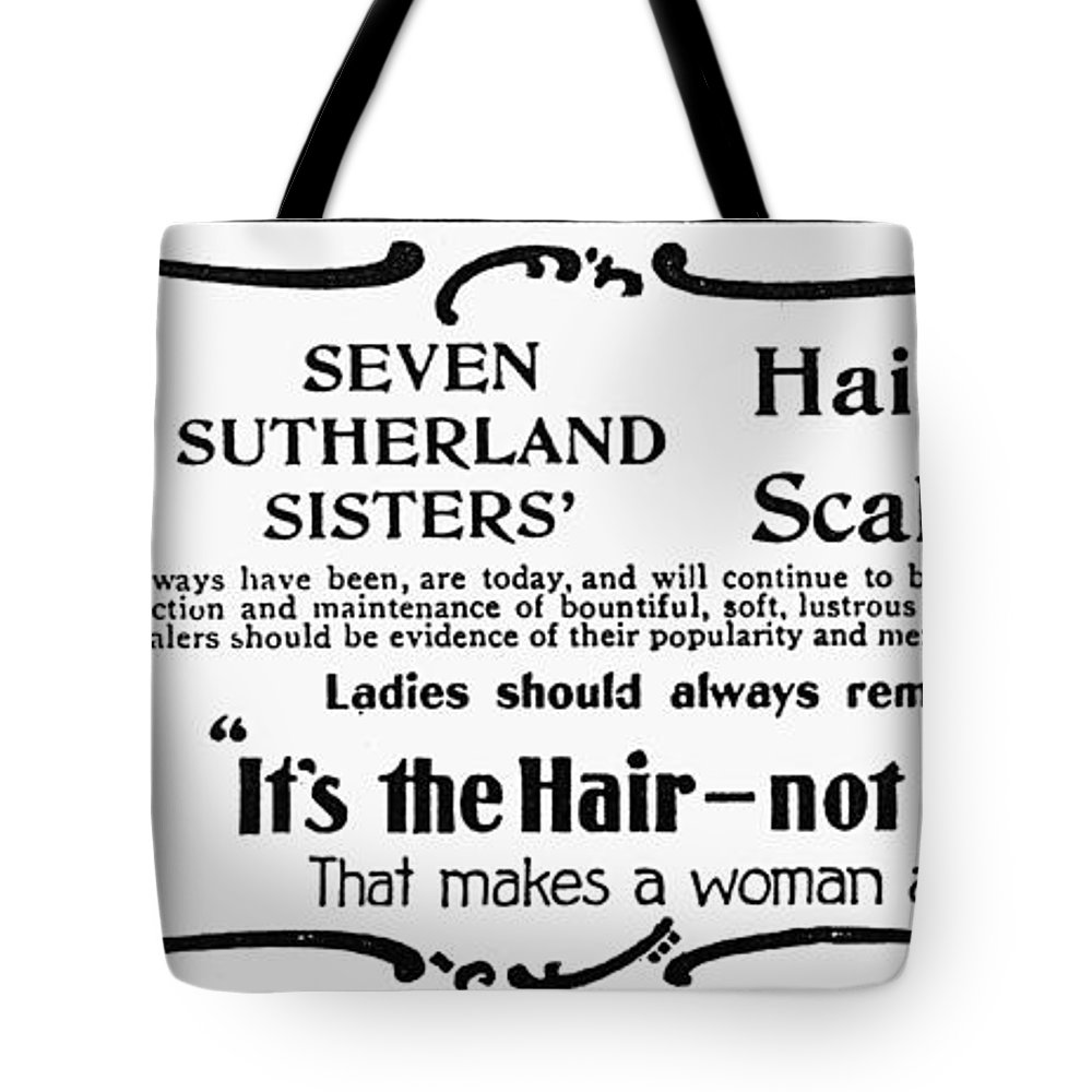1894 Tote Bag featuring the photograph Hair Treatment Ad, 1894 by Granger