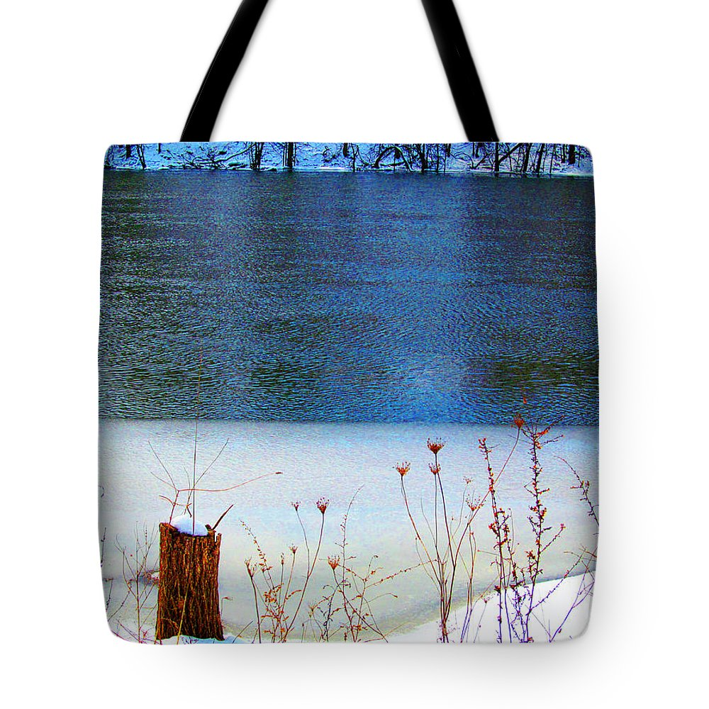 Ice Tote Bag featuring the photograph Half Frozen River Bank by Tina M Wenger