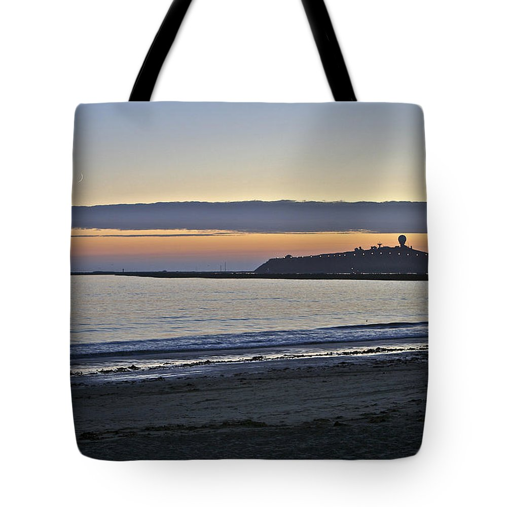 Half Moon Bay Pillar Point Radar Station And Light House Tote Bag featuring the photograph Half Moon Bay Sunset by SC Heffner