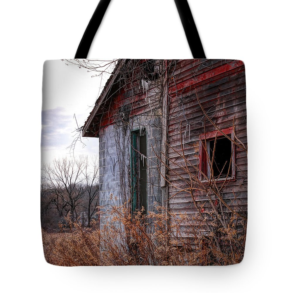 Red Barn Tote Bag featuring the photograph Half by Rick Kuperberg Sr