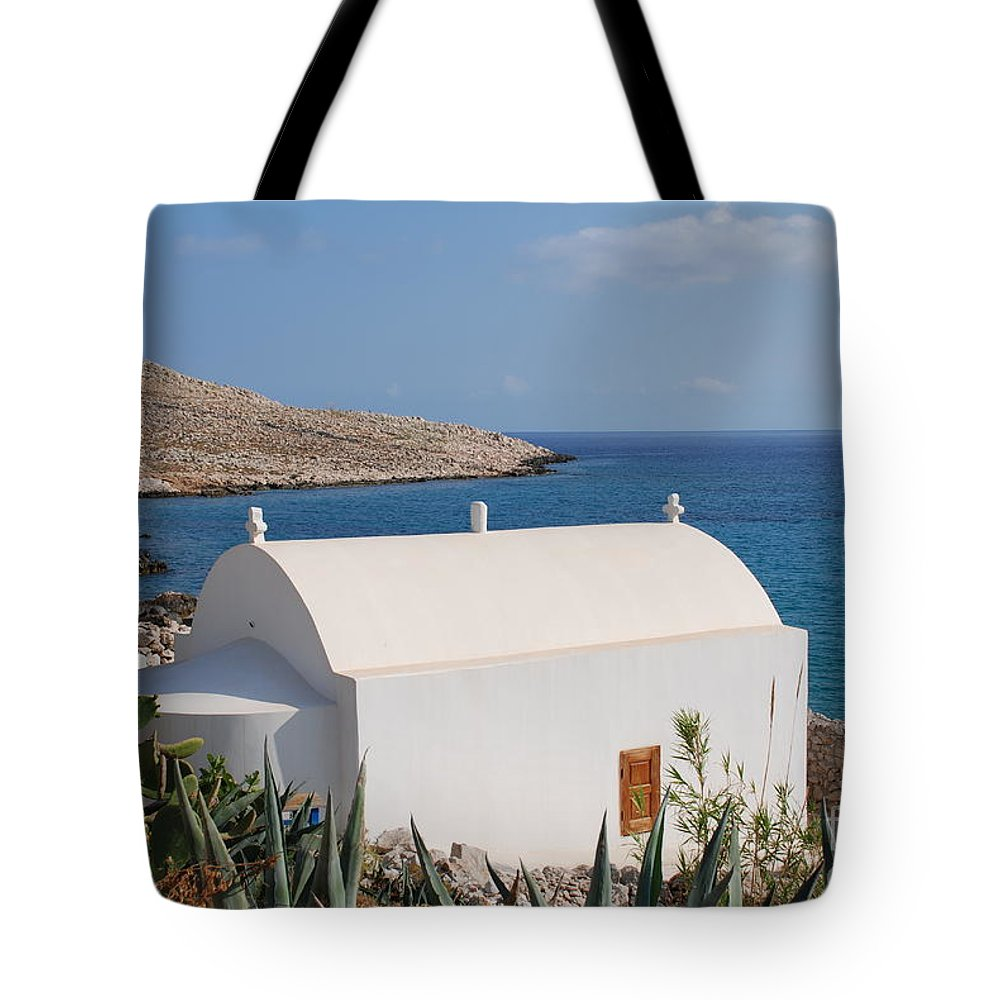 Halki Tote Bag featuring the photograph Halki Chapel by David Fowler