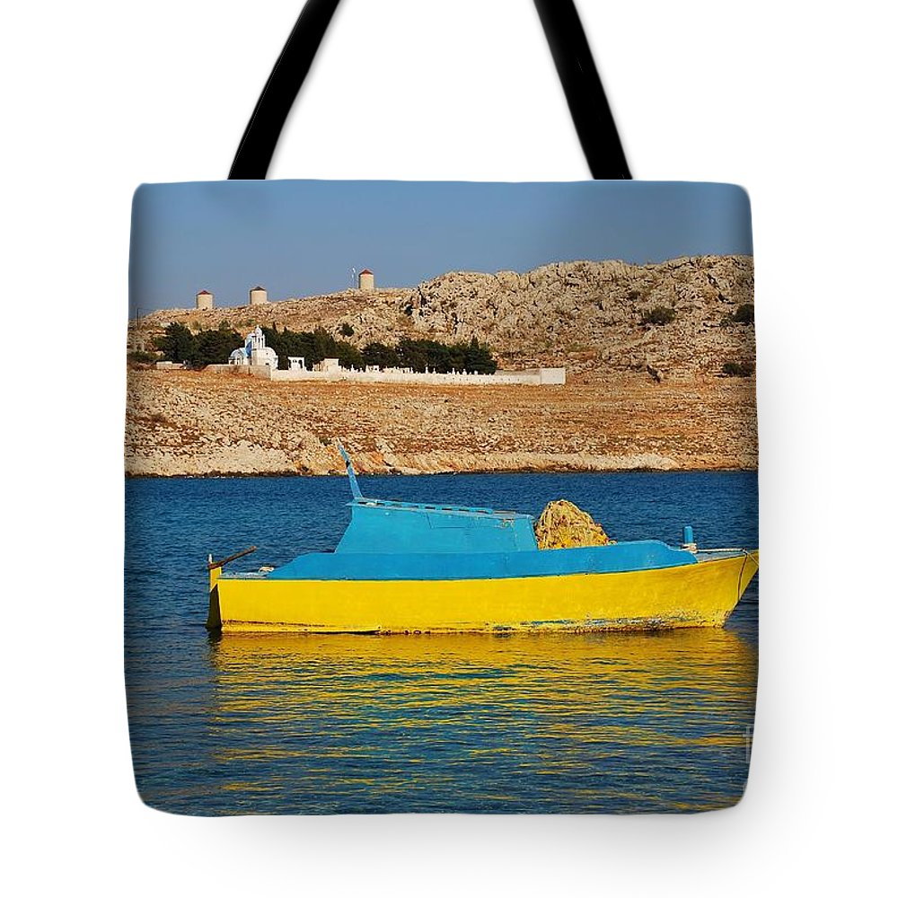 Halki Tote Bag featuring the photograph Halki Fishing Boat by David Fowler