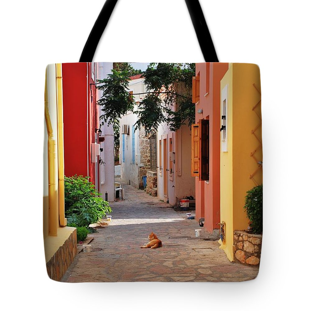 Halki Tote Bag featuring the photograph Halki Street by David Fowler