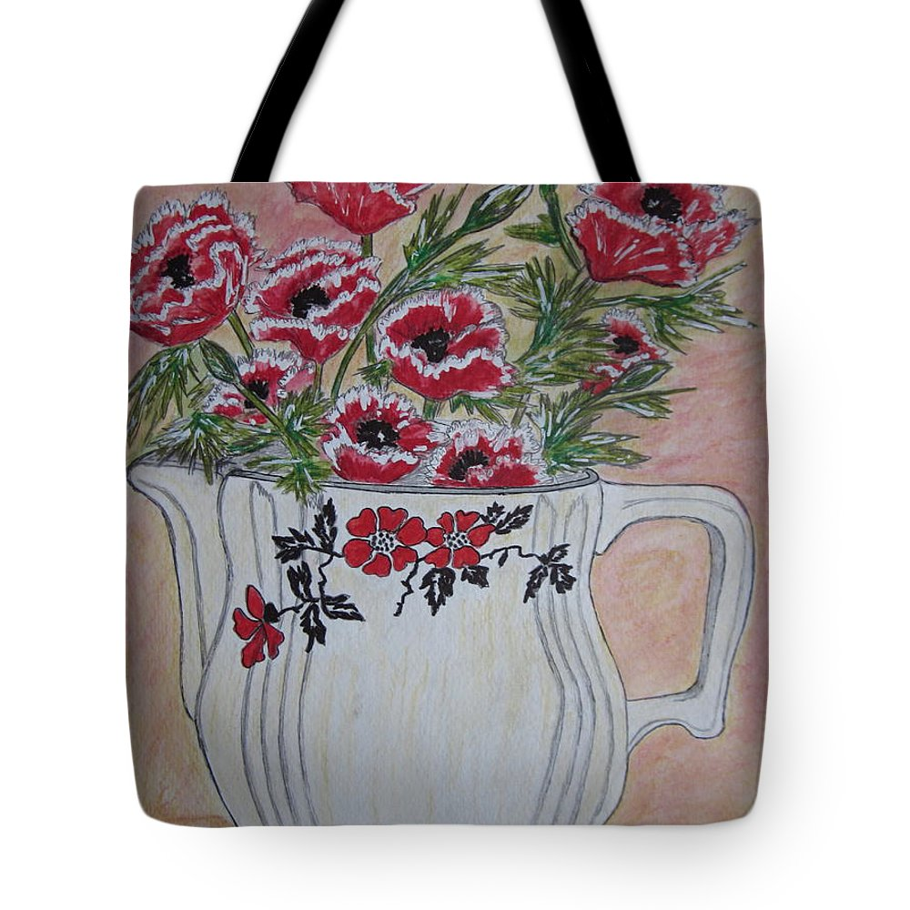Hall China Tote Bag featuring the painting Hall China Red Poppy And Poppies by Kathy Marrs Chandler
