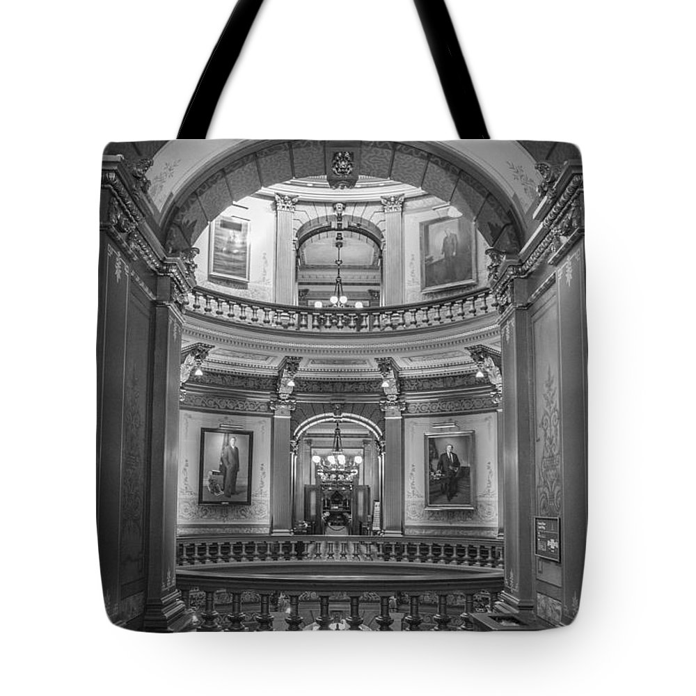 Michigan Tote Bag featuring the photograph Hall In Michigan State Capital by John McGraw