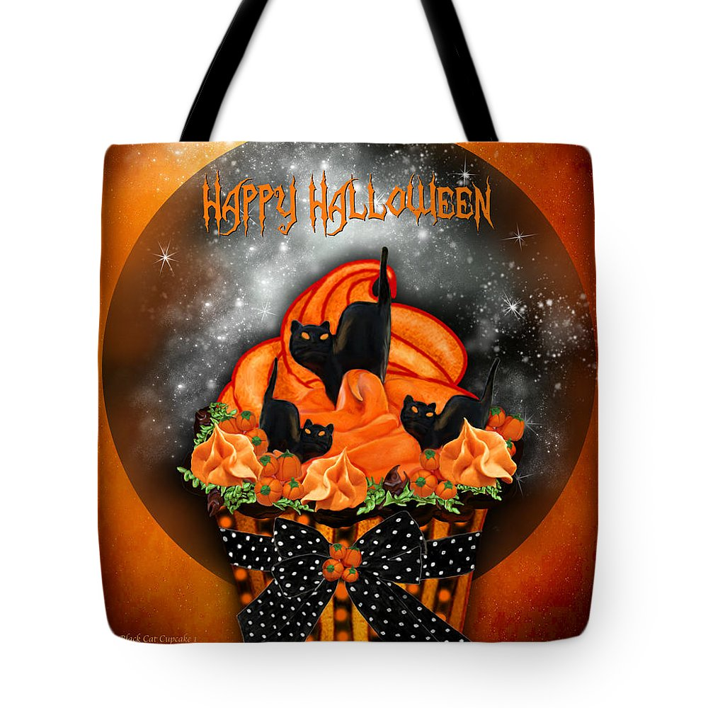 Tote Bag featuring the mixed media Halloween Black Cat Cupcake 1 by Carol Cavalaris