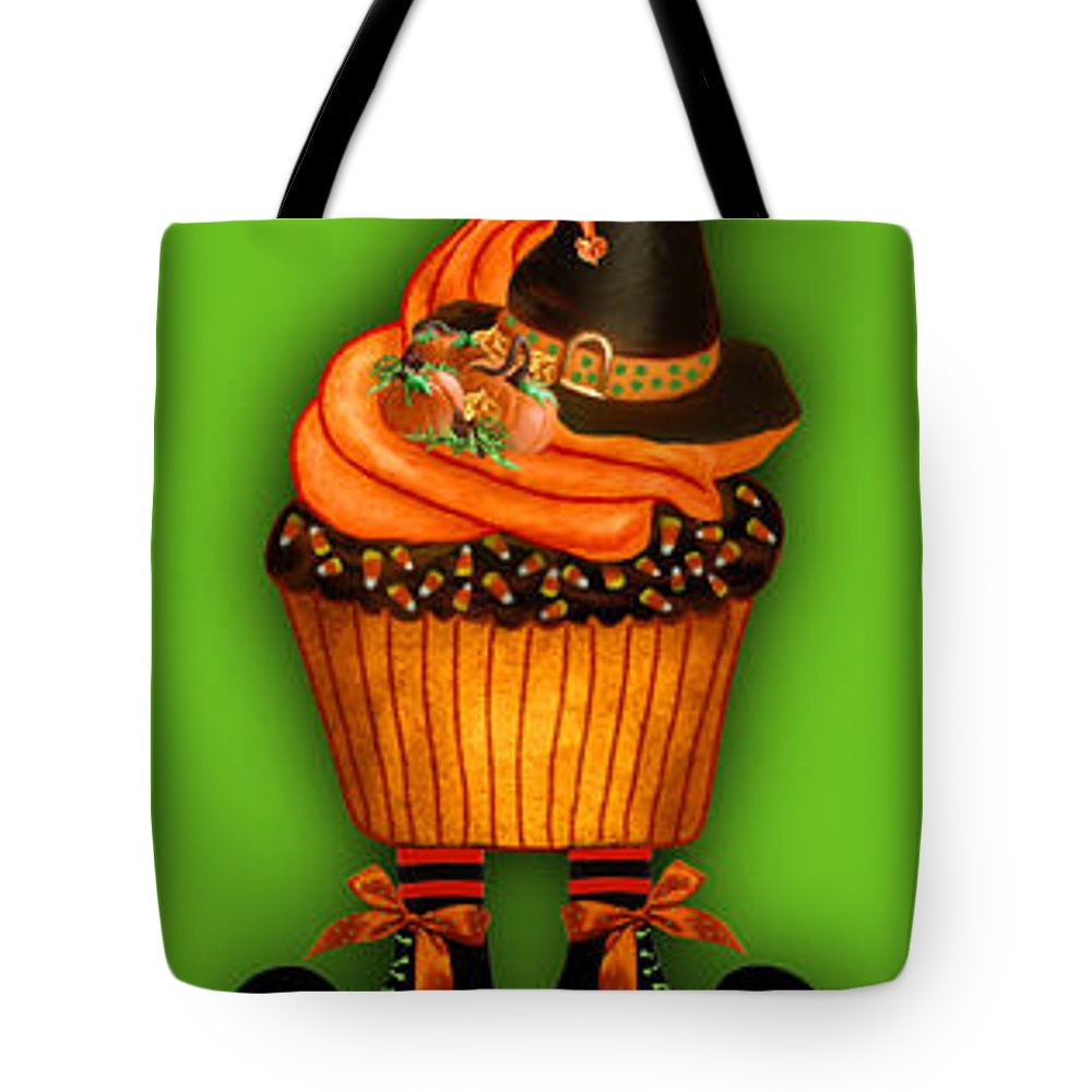 Halloween Cupcakes Art Tote Bag featuring the mixed media Halloween Cupcakes - Green by Carol Cavalaris