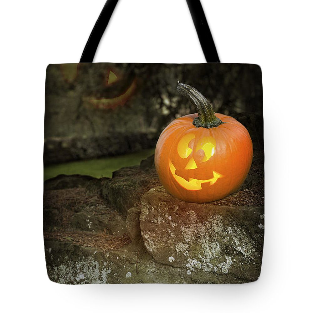Pumpkin Tote Bag featuring the photograph Halloween Jack O Lanterns by Amanda Elwell