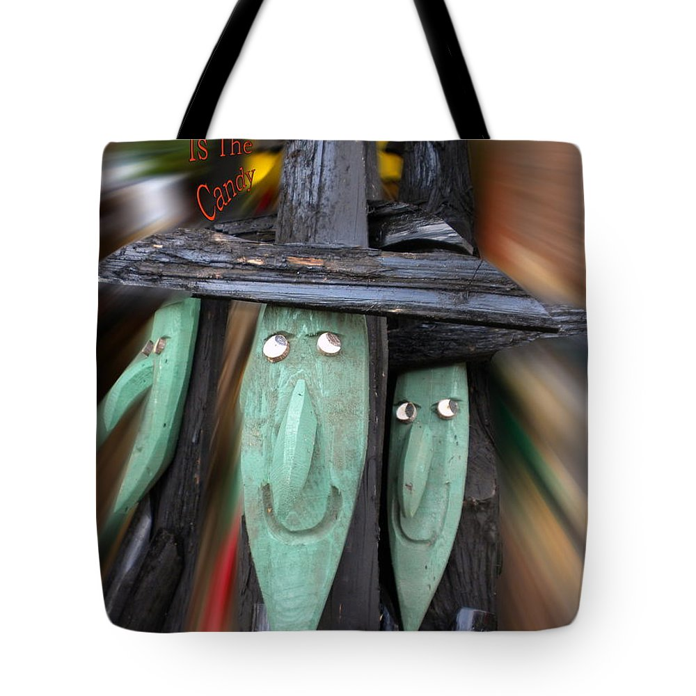 Halloween Tote Bag featuring the photograph Halloween Witch Way Is The Candy by Thomas Woolworth