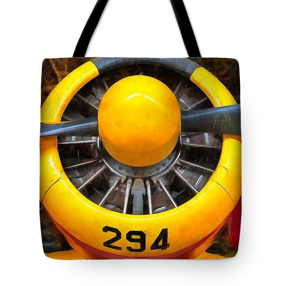 Hamilton Standard Propeller Tote Bag featuring the painting Hamilton Standard Propeller by L Wright