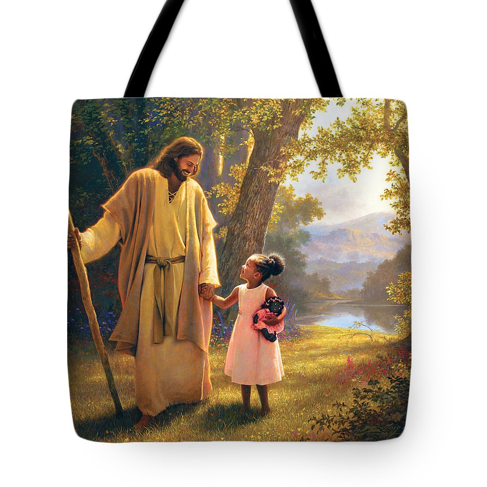 Jesus Tote Bag featuring the painting Hand in Hand by Greg Olsen
