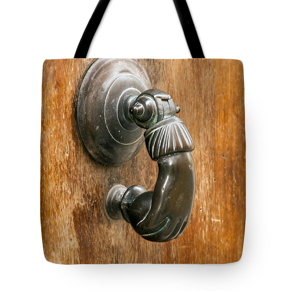 Saignon France French Metal Door Knocker Knockers Doors Provence  Tote Bag featuring the photograph Hand Knocker by Bob Phillips