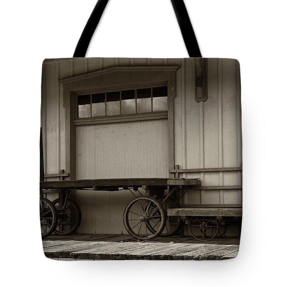 Guy Whiteley Photography Tote Bag featuring the photograph Handcarts by Guy Whiteley