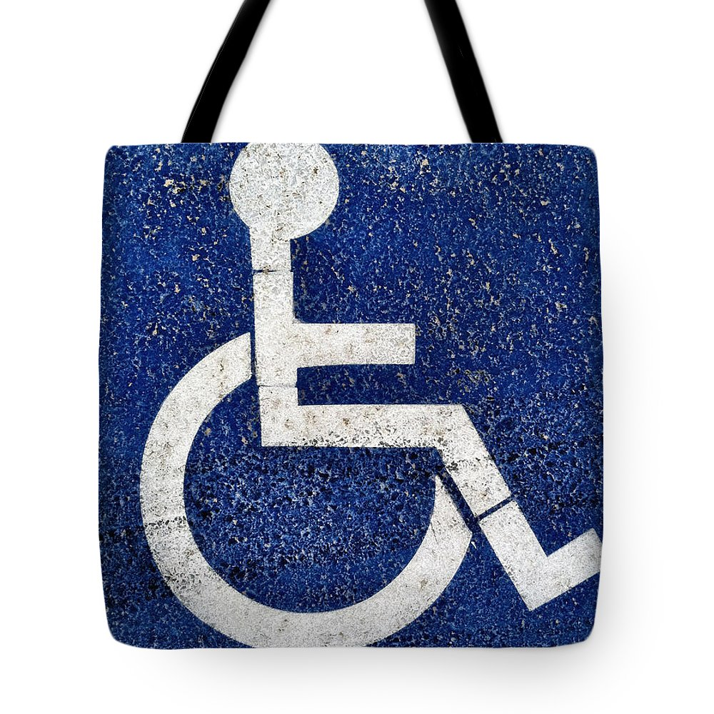 Access Tote Bag featuring the photograph Handicapped Symbol by Bryan Mullennix