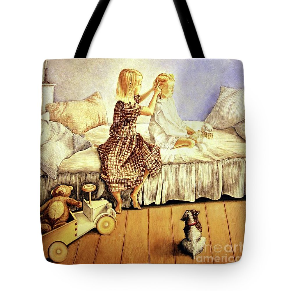 Animals Tote Bag featuring the painting Hands Of Devotion - Childhood by Linda Simon