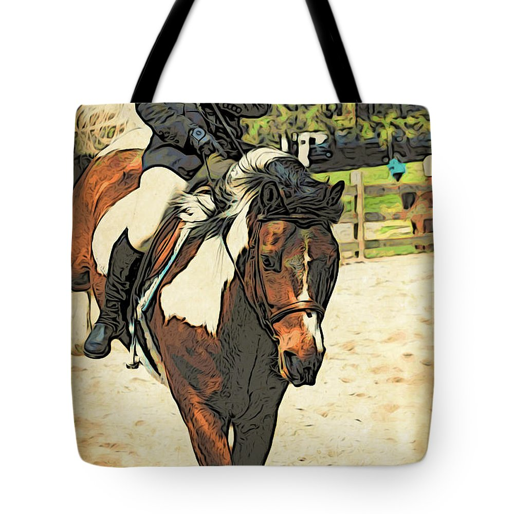 Horse Tote Bag featuring the photograph Hang On To Your Painted Horse by Alice Gipson