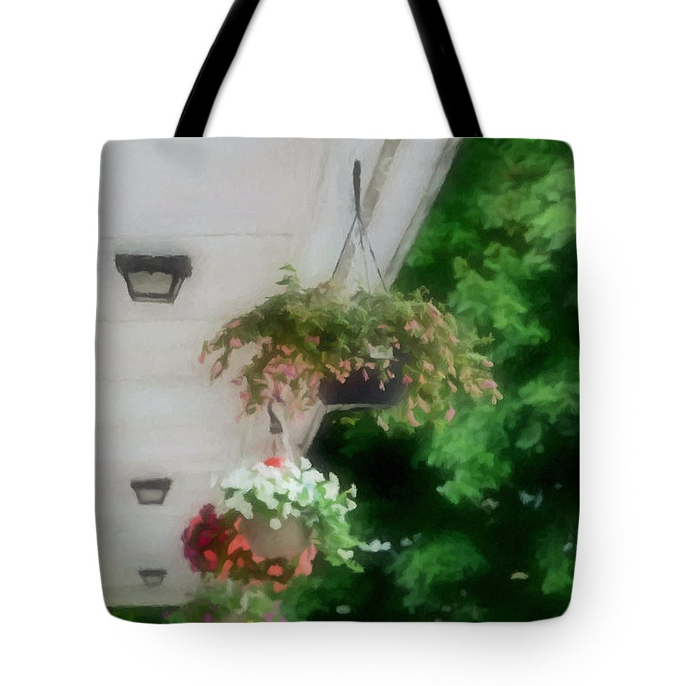 Agricultural Tote Bag featuring the painting Hanging Flower Baskets On A Porch by Jeelan Clark