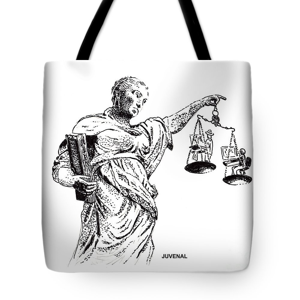 T-shirt Tote Bag featuring the drawing Hanging In The Balance by Joseph Juvenal