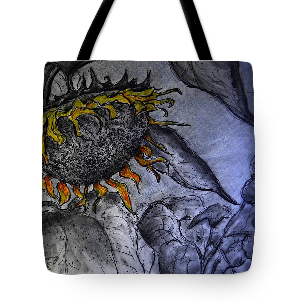 Hanging On To Life - Sunflower Tote Bag featuring the drawing Hanging On To Life - Sunflower by Jose A Gonzalez Jr