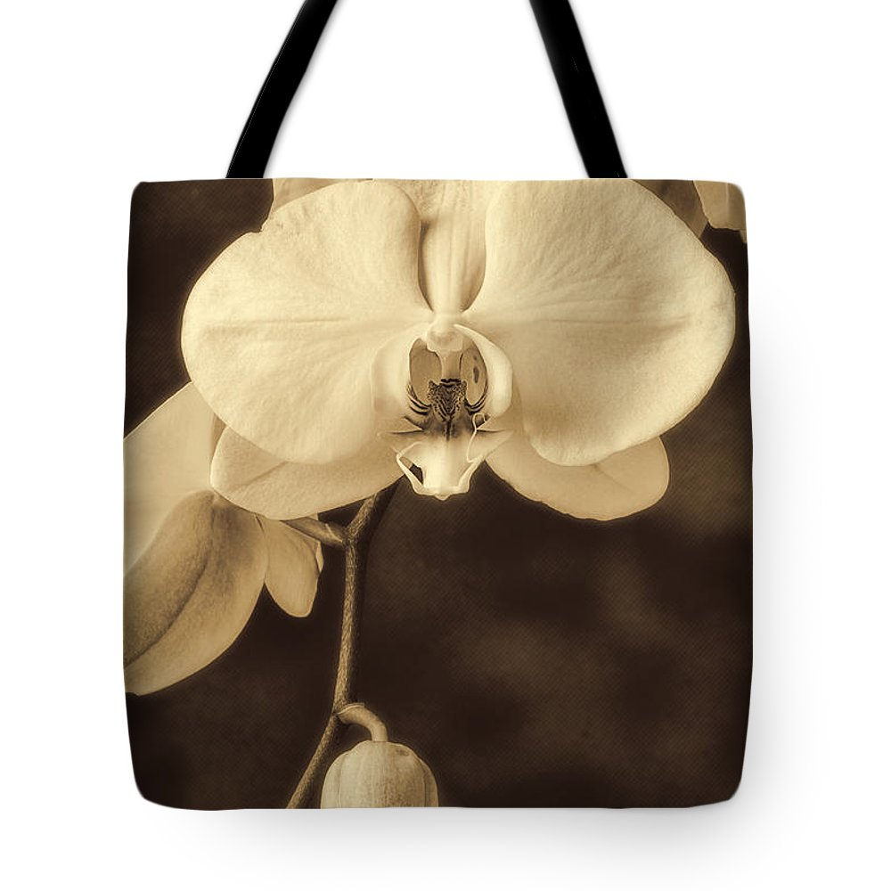 Hanging White Orchids Tote Bag featuring the photograph Hanging Orchid by Garry Gay