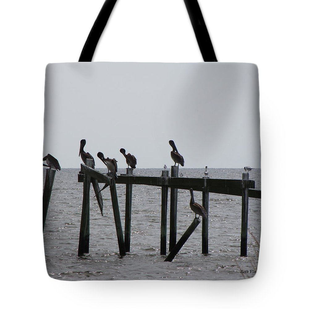 Pelicans Tote Bag featuring the photograph Hanging Out With Friends by Beth Vincent