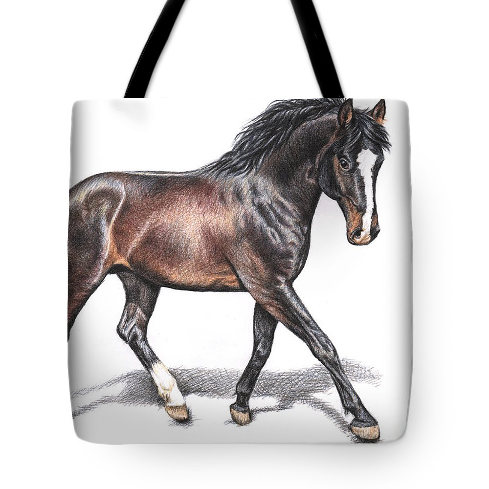 Horse Tote Bag featuring the drawing Hannoveraner by Nicole Zeug