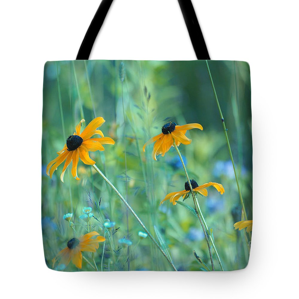 Flowers Tote Bag featuring the photograph Happiness Is In The Meadows by Aimelle