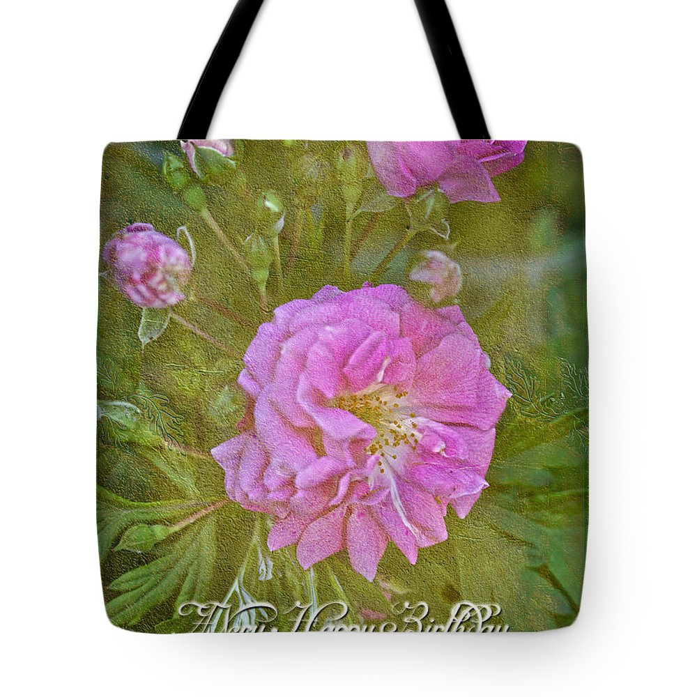 Happy birthday i love you greeting card pink rose tote bag for birthday tote bag featuring the photograph happy birthday i love you greeting card pink rose m4hsunfo