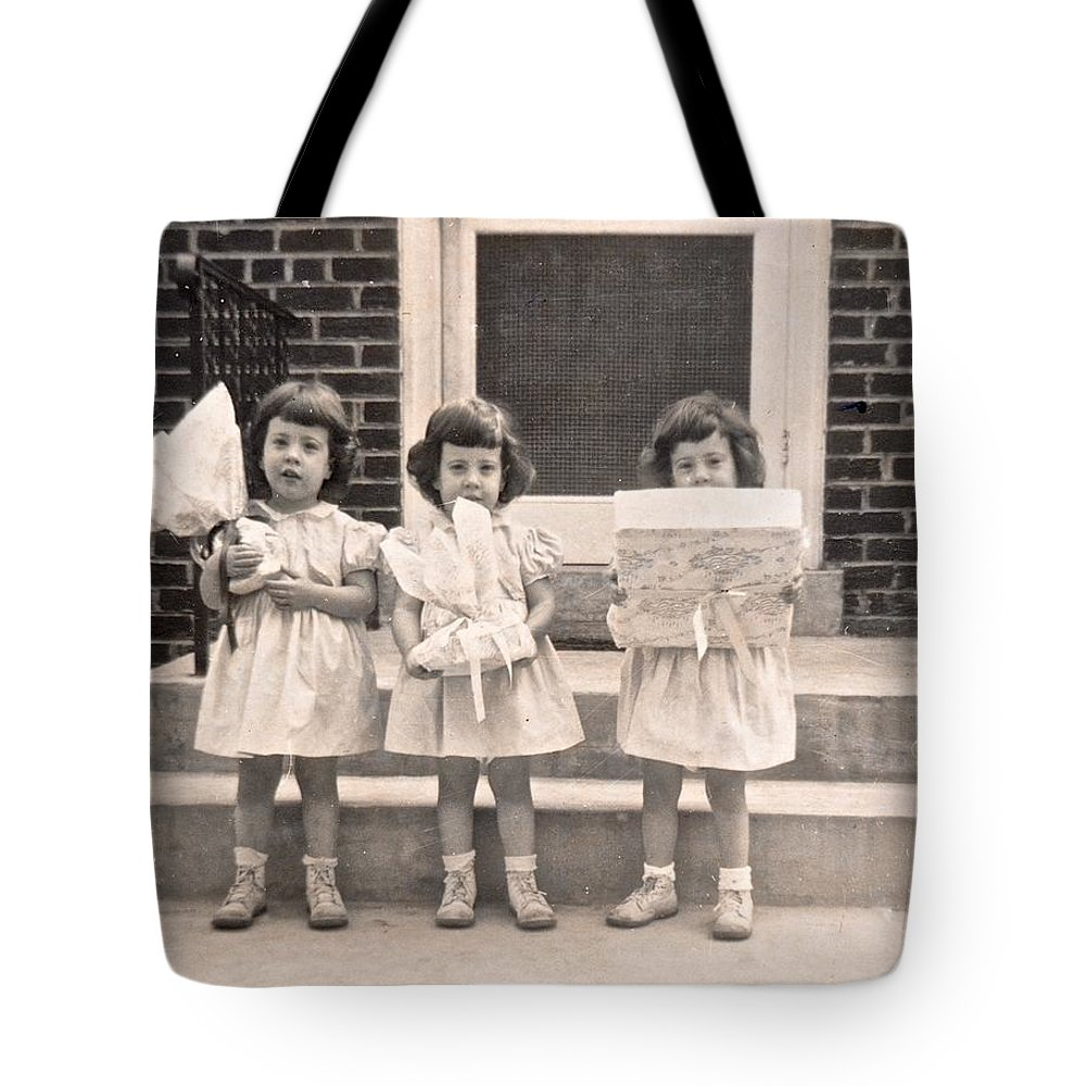 Triplet Children Tote Bag featuring the photograph Happy Birthday Retro Photograph by Kristina Deane