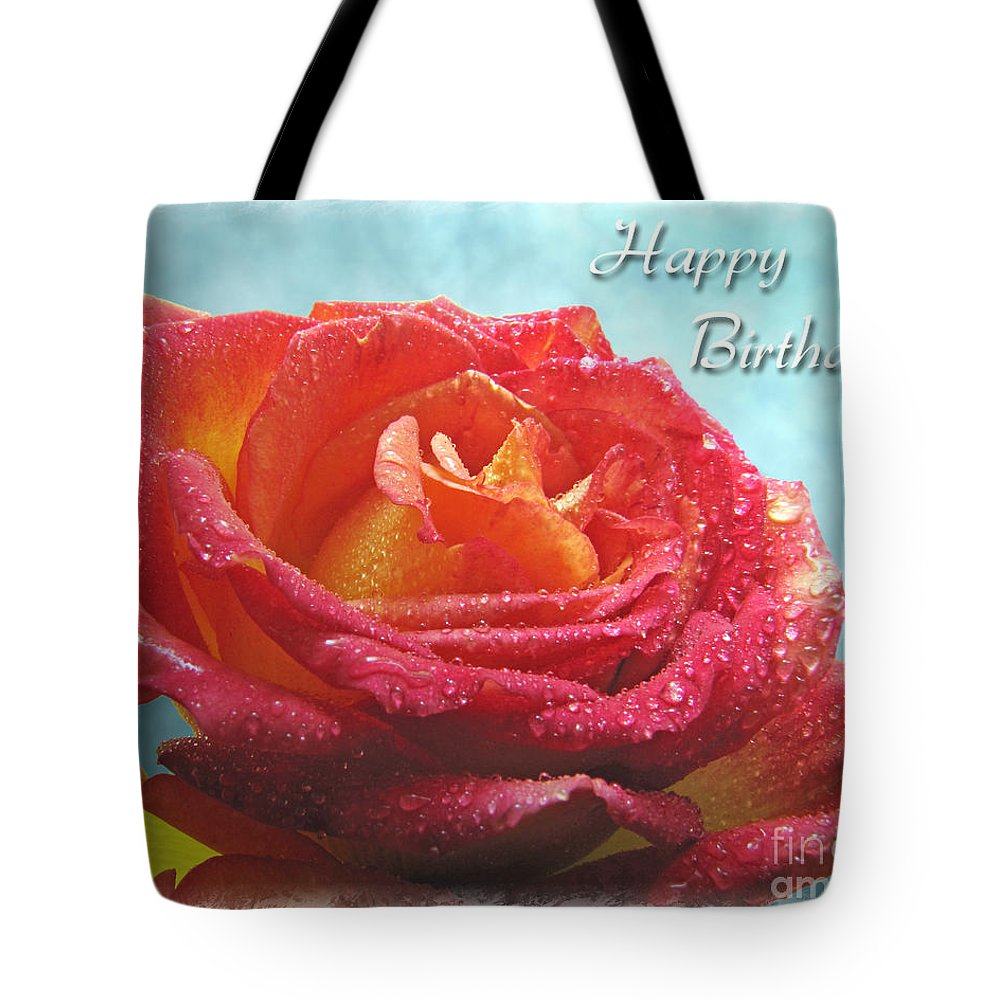 Dew Tote Bag featuring the photograph Happy Birthday Rose by Debbie Portwood