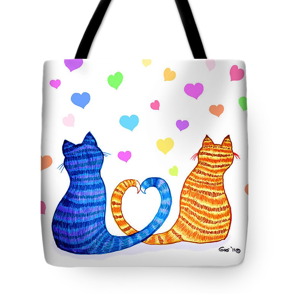 Cat Tote Bag featuring the digital art Happy Cats And Hearts by Nick Gustafson