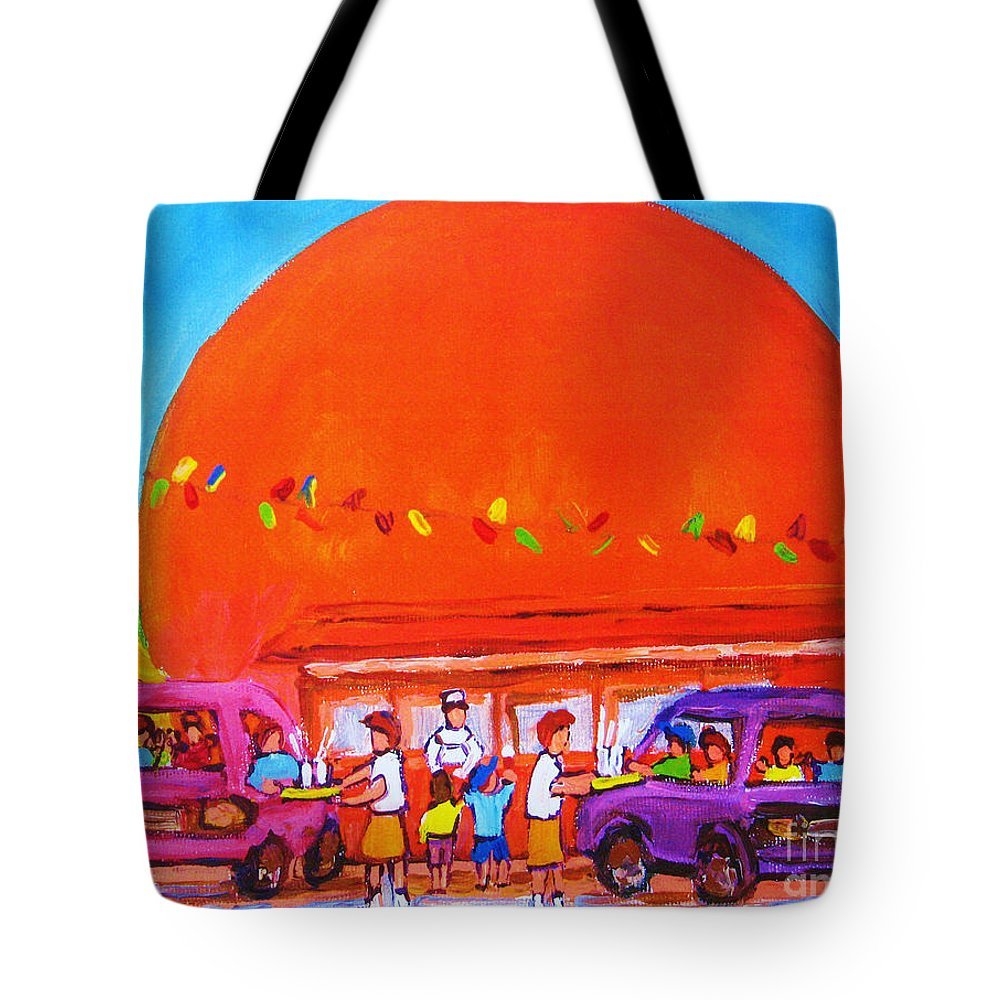 Montreal Tote Bag featuring the painting Happy Days At The Big Orange by Carole Spandau