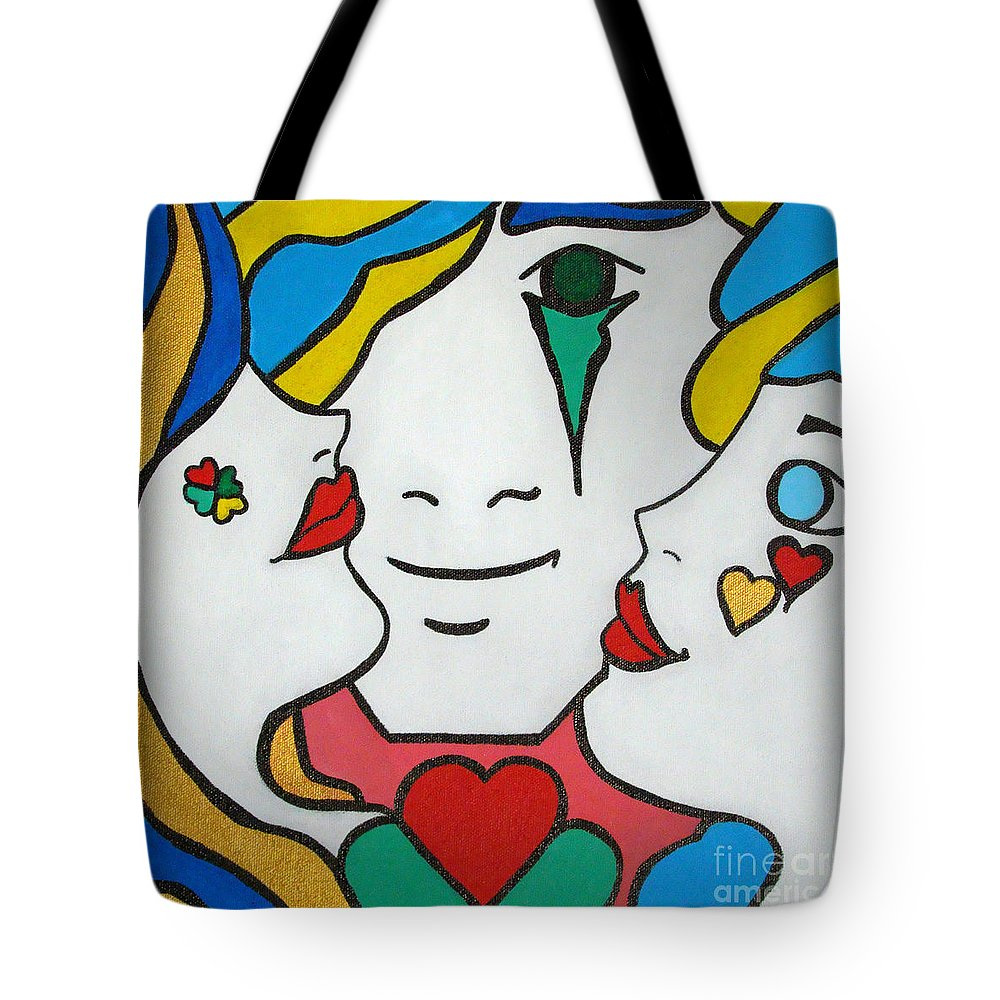 Pop-art Tote Bag featuring the painting Happy Days by Silvana Abel