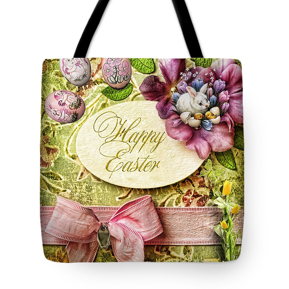 Happy Easter Tote Bag featuring the digital art Happy Easter 2 by Mo T