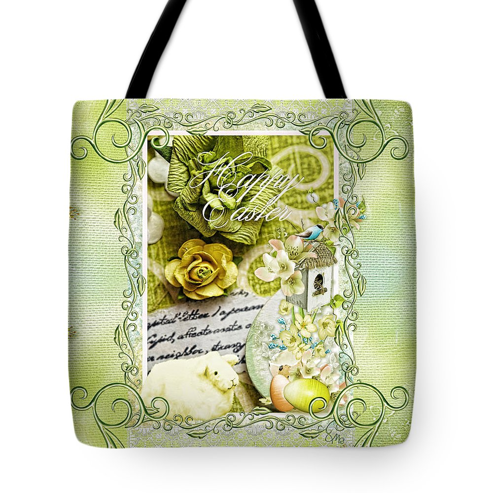 Happy Easter Tote Bag featuring the digital art Happy Easter 3 by Mo T