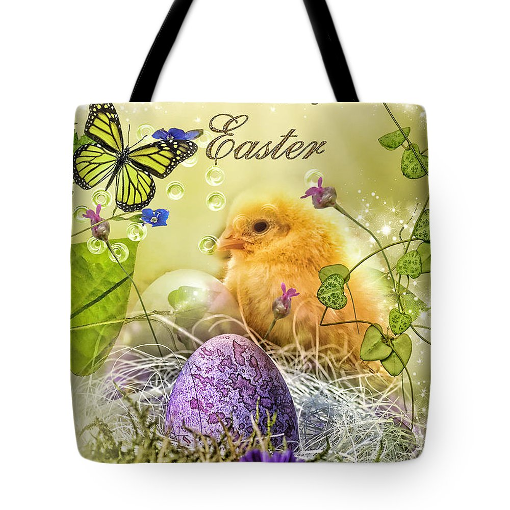 Happy Easter Tote Bag featuring the digital art Happy Easter by Mo T