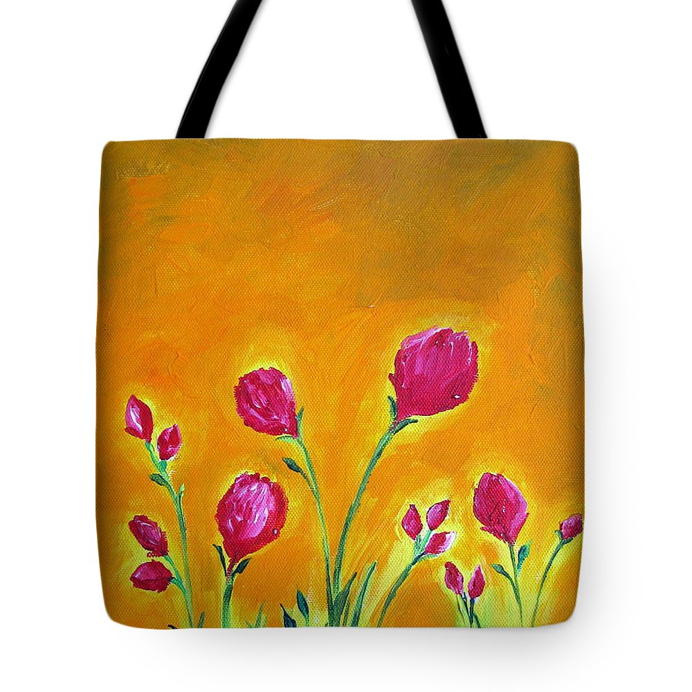 dd6e14ddcb61 Happy Flowers Acrylic Painting On Canvas Tote Bag
