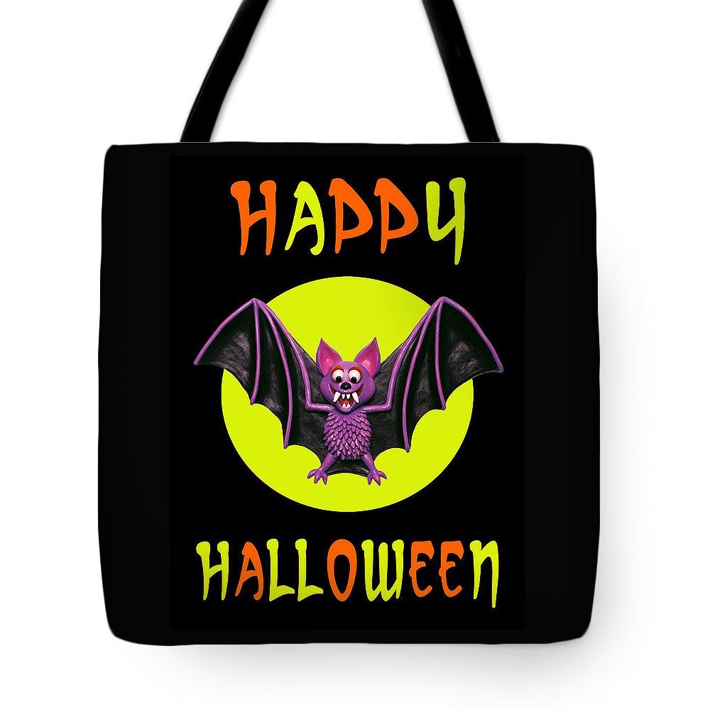 Tote Bag featuring the digital art Happy Halloween Bat by Amy Vangsgard