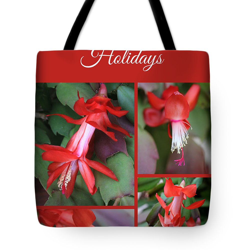 Christmas Cactus Tote Bag featuring the photograph Happy Holidays Natural Christmas Card Or Canvas by Carol Groenen