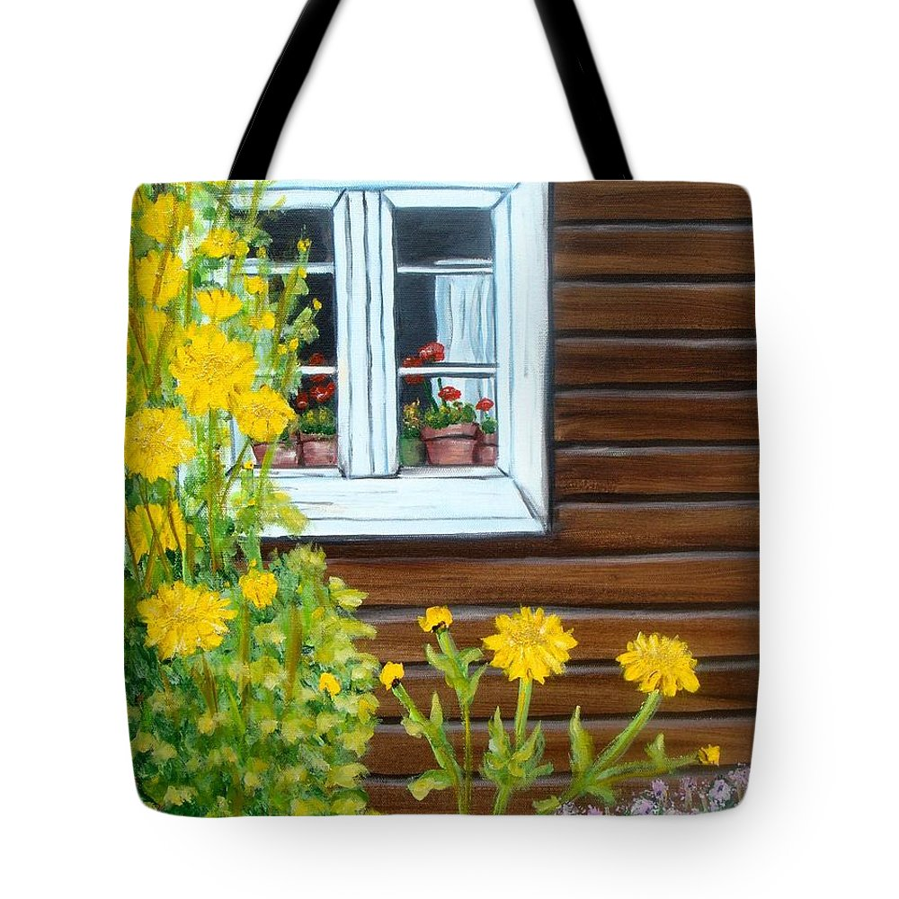 Window Tote Bag featuring the painting Happy Homestead by Laurie Morgan