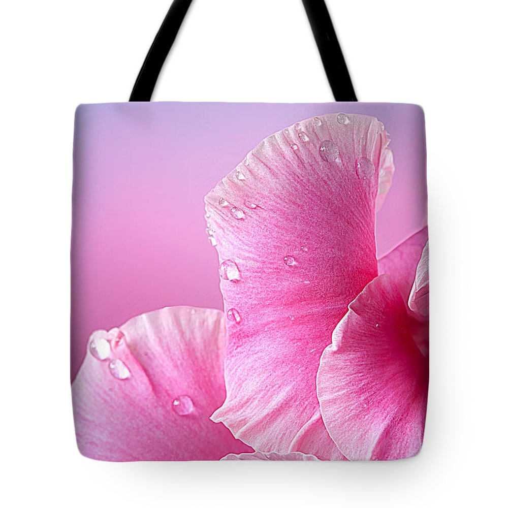 Mother's Day Tote Bag featuring the photograph Happy Mother's Day Macro Pink Rose Petals by Randall Branham